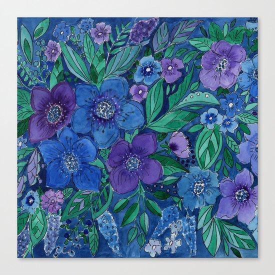 Watercolor . Blue flowers . Canvas Print