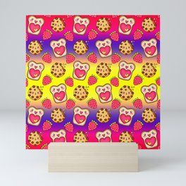 Cute funny sweet adorable happy Kawaii toast with raspberry jam and butter, chocolate chip cookies, red ripe summer strawberries cartoon fantasy yellow purple pattern design Mini Art Print