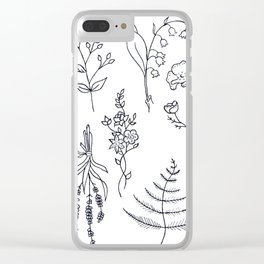 Lavender, Ferns, & Wildflowers Illustration Clear iPhone Case