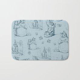 Madame Kitty and her pooch - Beatrix Potter vintage pattern design Bath Mat