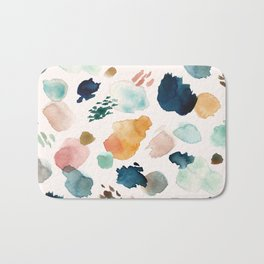 WILD WHIMS Abstract Watercolor Brush Strokes Bath Mat