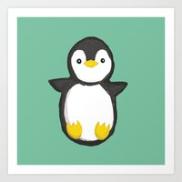 penguin Art Prints featuring penguin by Julie Zhang