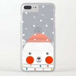 Christmas Polar Bear Clear iPhone Case