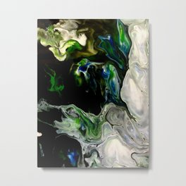 Abstract Green and White Metal Print
