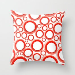 Red Cicles 01 Throw Pillow
