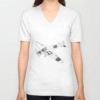 airplane V-neck T-shirts featuring Airplane diagram by marcusmelton