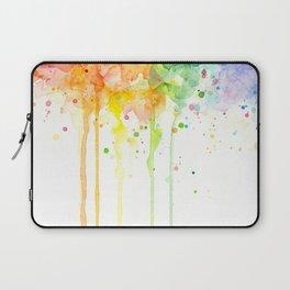 Watercolor Rainbow Splatters Abstract Texture Laptop Sleeve