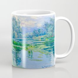 Václav Radimský (1867-1946) At The Confluence Colorful Bright Impressionist Oil Landscape Painting Coffee Mug
