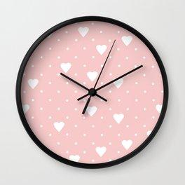Pin Point Hearts Blush Wall Clock