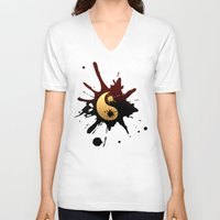 ying yang V-neck T-shirts featuring Ying-Yang by Jessica Jimerson