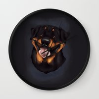 rottweiler Wall Clocks featuring Rottweiler 2 by Mickeyila Studios