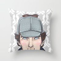 enerjax Throw Pillows featuring Sherlock by enerjax