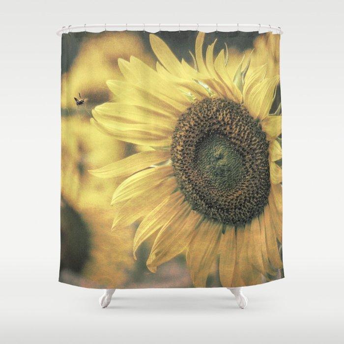 Sunflower Field Bumble Bee Modern Country Farmhouse Art A417 Shower Curtain
