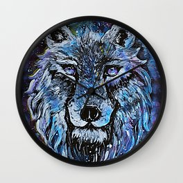 Wolf painting Wall Clock