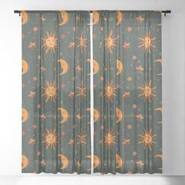 Folk Moon and Star Print in Teal Sheer Curtain