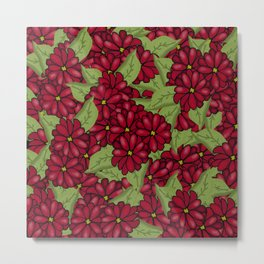 Red Floral Daisy Collage Metal Print
