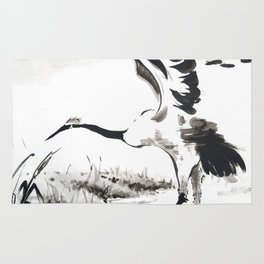 watercolor japan art grue, flying bird chinese ink Rug