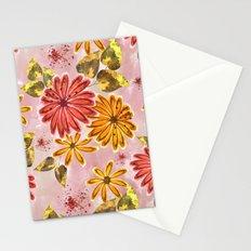 Pink, orange flowers. Stationery Cards