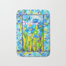 Blue Poppies 2 with Border Bath Mat