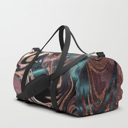 Metallic Rose Gold Marble Swirl Duffle Bag