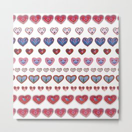 Folky hearts Metal Print