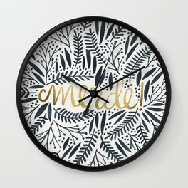 Pardon My French – Black & Gold Wall Clock