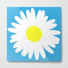 Blue Daisy (Yellow) Metal Print