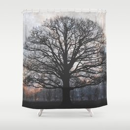 lonely tree in the fantasy land Shower Curtain