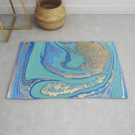 marble stone turquoise and gold Rug
