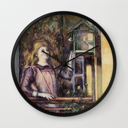 Girl with Birdcage (Jeune fille a la voliere) (ca 1888) by Paul Cezanne Wall Clock