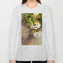Olive oil,  herbs and spices on a wooden table Long Sleeve T-shirt