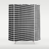 buildings Shower Curtains featuring TWO BUILDINGS by THE USUAL DESIGNERS