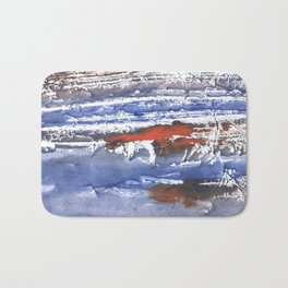 Blue gray stained aquarelle pattern Bath Mat