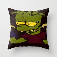 simpson Throw Pillows featuring Bart Simpson by Jide