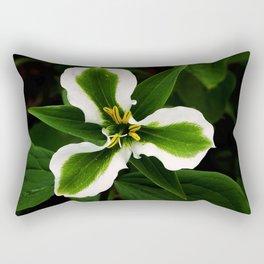 Green-striped White Trillium  (Disease can be beautiful) Rectangular Pillow