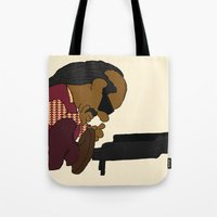 stevie nicks Tote Bags featuring Stevie Schroeder by happytunacreative