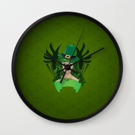 Leprechaun lady in green hat Wall Clock