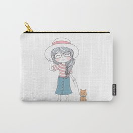 Comic Girl With Hat And Cute Dog Carry-All Pouch