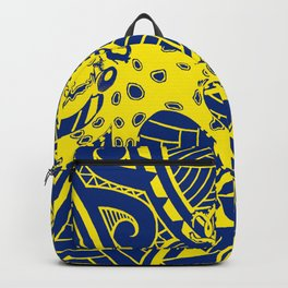 blue yellow octopus and crab in polynesian tribal Backpack