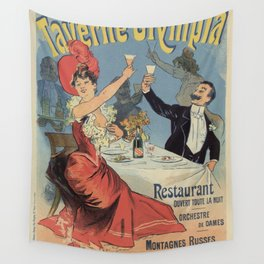 French Paris Restaurant advert by Chéret 1899 Wall Tapestry