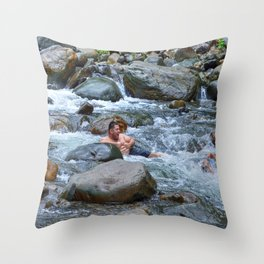 Brothers in harmony in the powerful Mameyes River - El Yunque rainforest PR Throw Pillow
