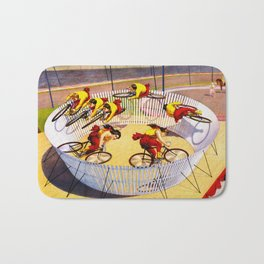 Vintage Bicycle Circus Act Bath Mat