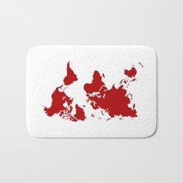 Upside Down World Map - red Bath Mat