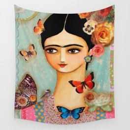 Frida Collage with Butterfly and Rose Wall Tapestry