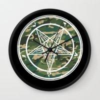 pentagram Wall Clocks featuring Pentagram Camo by Parin Cashmony