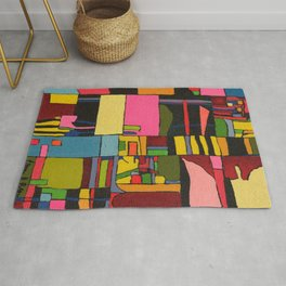 Colors in Collision 2 - Geometric Abstract in Blue Yellow Pink and Green Rug