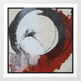 Zen Enso Daruma Buddhist Abstract Realism Painting Red Black and White  Art Print