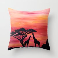 africa Throw Pillows featuring Africa by Monica Georg-Buller