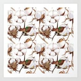 Cotton Flower Pattern 02 Art Print