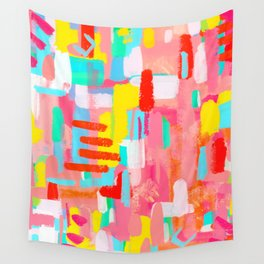 Abstract Expressionism Colorful Painting Modern Contemporary - Those Crucial Three Words Wall Tapestry
